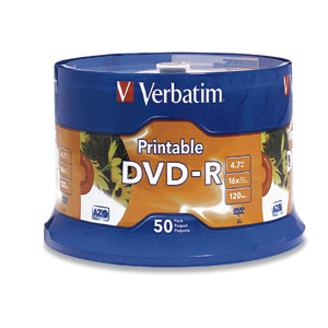 Verbatim 16x DVD-R Media - 4.7GB - Ink Jet Printable 4.7GB DVD-R 50pc(s)