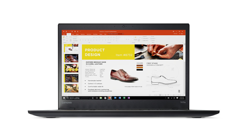 "Lenovo ThinkPad T470s 2.8GHz i7-7600U 14"" 1920 x 1080pixels Touchscreen Black Notebook"