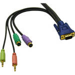 C2G 2m Ultima 5-in-1 KVM HD15 VGA Cable with Speaker and Mic KVM cable Black