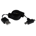 StarTech.com 2.5 ft Retractable USB Combo Cable – USB to Micro USB and Mini USB – M/M