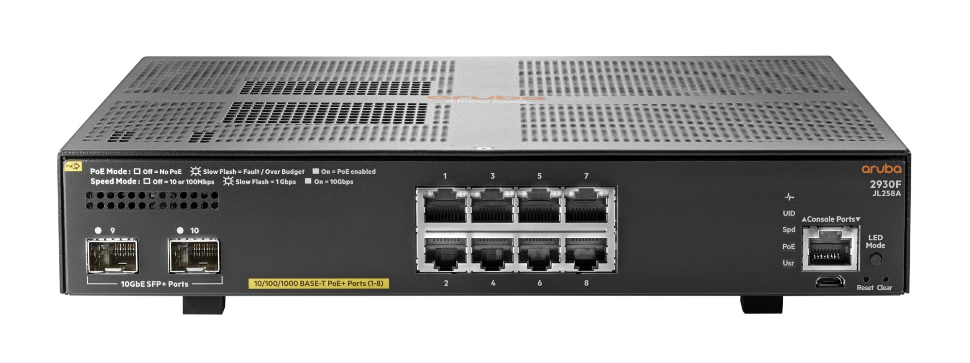 Hewlett Packard Enterprise Aruba 2930F 8G PoE+ 2SFP+ Gestionado L3 Gigabit Ethernet (10/100/1000) Gris 1U Energía sobre Ethernet (PoE)