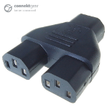 CONNEkT Gear Mains Power Splitter Adapter C14 Plug to 2 x C13 Sockets 27-0196
