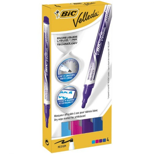 BIC Velleda marker 4 pc(s) Blue,Light Blue,Pink,Purple