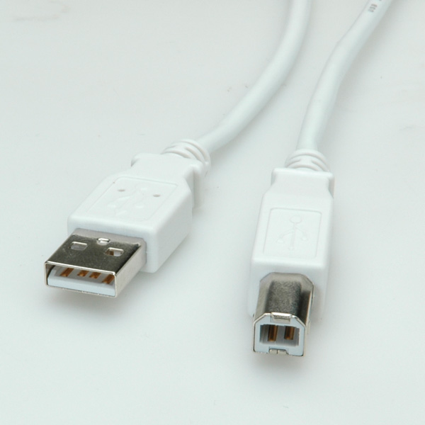 USB2.0 Cable A-B. M/M. White. 1.8m