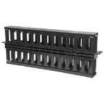 """Intellinet 19"""" Cable Management Panel, 19"""" Rackmount Cable Manager, 1U, Double-Sided with Covers, Black"""