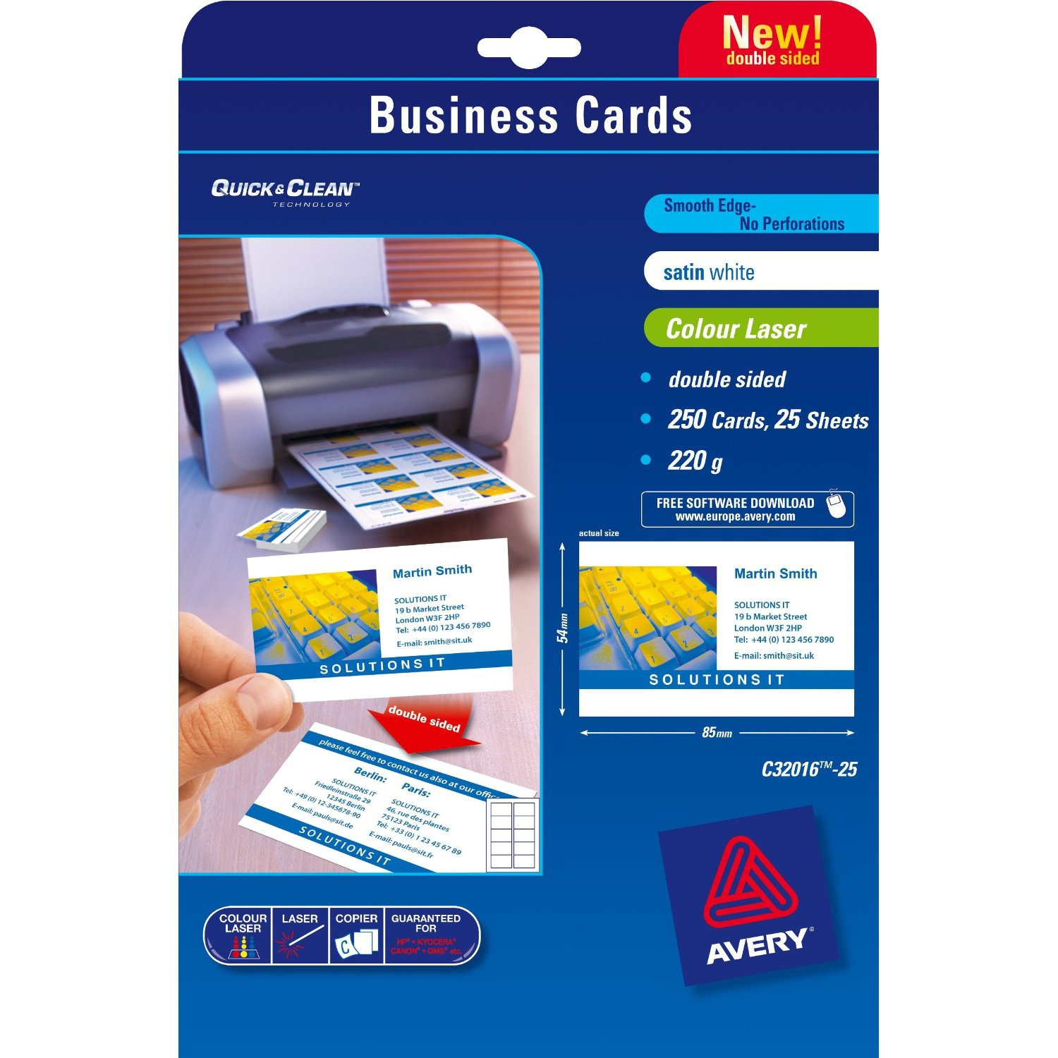 Avery Quickclean 85 X 54 Mm X25 250pcs Business Card Business