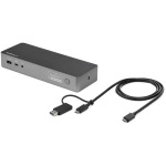 StarTech.com USB-C & USB-A Dock - Hybrid Universal Laptop Docking Station with Dual Monitor 4K60Hz HDMI & DisplayPort - USB 3.1 Gen 1 Hub, GbE - 60W Power Delivery - Windows, Mac & Chrome