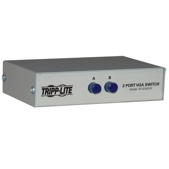 Tripp Lite 2-Port Manual Push Button VGA/SVGA Video Switch - Metal