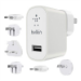 Belkin World Travel Adapter Kit 2.4 amp USB Mains Charger [Includes UK, EU, US, AU, KR, CN] for Tablets and Smartphones  White