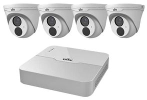 Uniview 4 Channel NVR 2MP HD NVR301-04LB-P4 & 4 x 2MP 2.8mm Turret IP Cameras CCTV KIT NO HDD