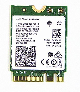 Intel AC 8265 WLAN / Bluetooth 867 Mbit/s Internal