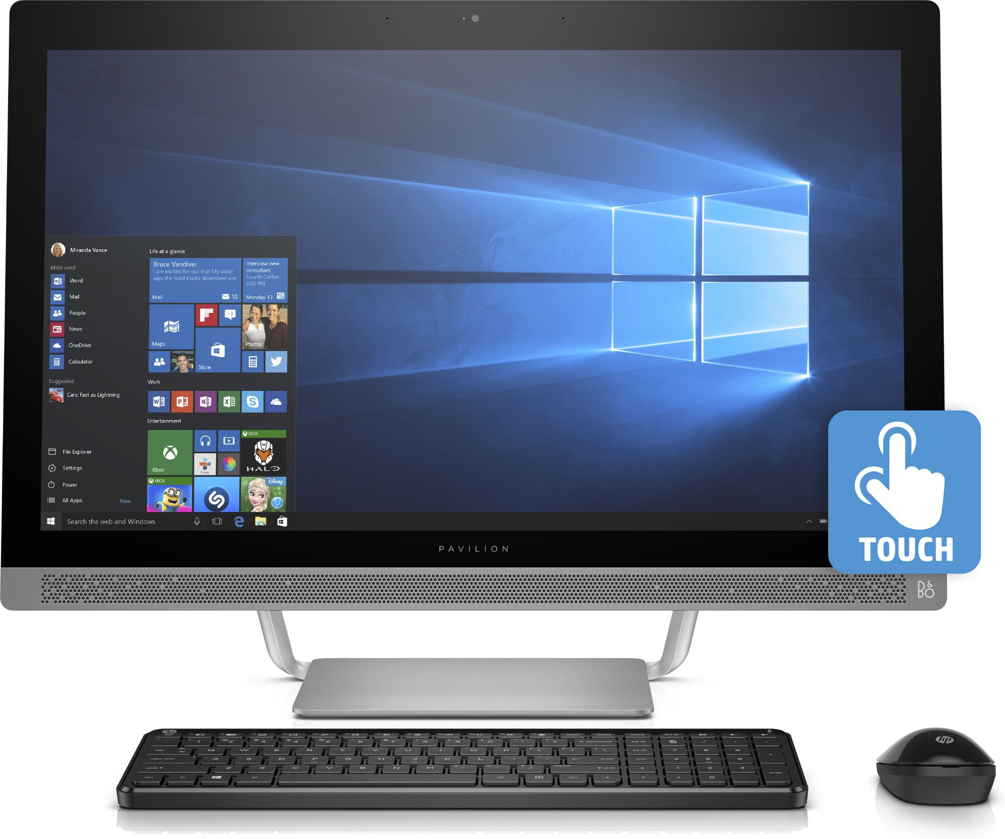 "HP Pavilion 27-a210 2.9GHz i7-7700T 27"" 1920 x 1080pixels Touchscreen White All-in-One PC"