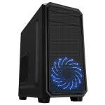 CIT Illusion Micro ATX Case Black with 1 x 15 LED Blue Front Fan 1 x USB 3.0