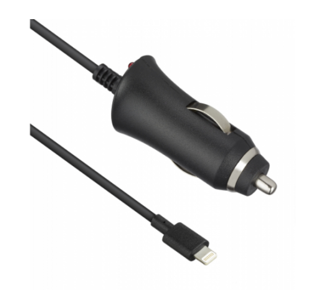 Wired In Car Charger Black 2.1a Apple Lightning Mfi
