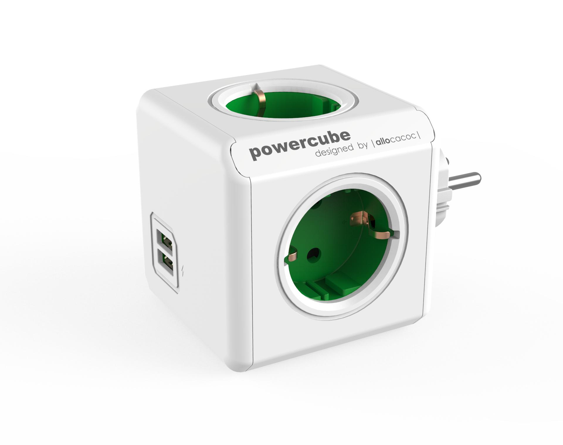 Allocacoc PowerCube Original USB base múltiple 4 salidas AC Interior Verde, Blanco