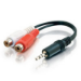 C2G 6in 3.5mm Stereo M / RCA F Y-Cable 0.15m 3.5mm 2 x RCA Black audio cable