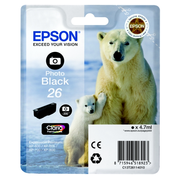 Epson C13T26114010 (26) Ink cartridge bright black, 200 pages, 5ml