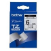 Brother Black on White Gloss Laminated Tape, 6mm TZ label-making tape