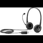HP Stereo USB Headset Head-band Black