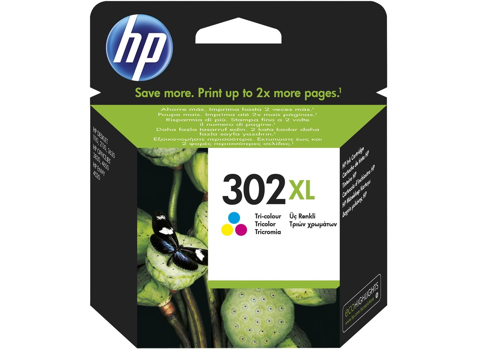 HP 302XL High Yield Tri-color Original Ink Cartridge Cian, Magenta, Amarillo 1 pieza(s)