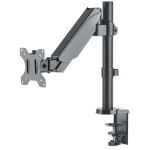 "Manhattan TV & Monitor Mount, Desk, Full Motion (Gas Spring), 1 screen, Screen Sizes: 10-27"", Black, Clamp or Grommet Assembly, VESA 75x75 to 100x100mm, Max 8kg, Lifetime Warranty"