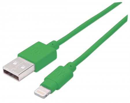 Manhattan USB 2.0 to Lightning Cable, Male to Male, 15cm, Green, MFI Certified, Blister