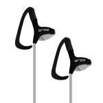 Ginga GO17AUD01HF-NG Gancho de oreja Biauricular Alámbrico Negro, Gris auricular para móvil dir