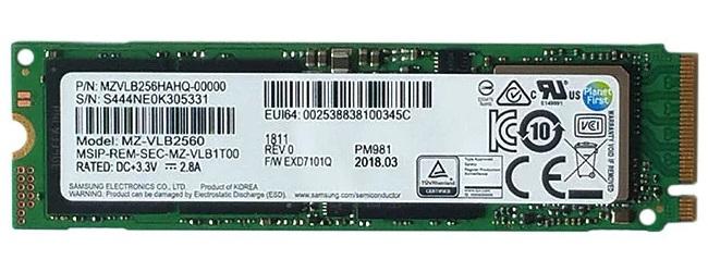 Samsung PM981 M.2 256 GB PCI Express 3.0 NVMe