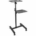 StarTech.com Mobile Projector and Laptop Stand/Cart - Heavy Duty Portable Projector Stand (2 Shelves, hold 22lb/10kg each) - Height Adjustable Rolling Presentation Cart w/Lockable Wheels