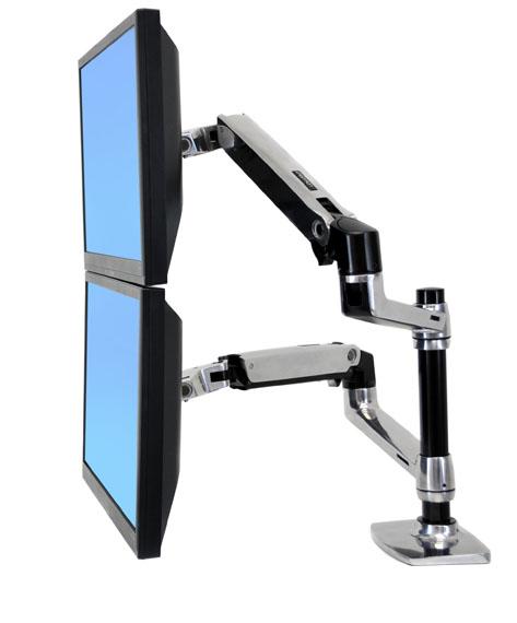 "Ergotron LX Series Dual Stacking Arm 61 cm (24"") Plata"