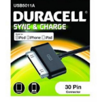 Duracell 30 Pin/USB, 1m 1m USB A Apple 30-p Black mobile phone cable