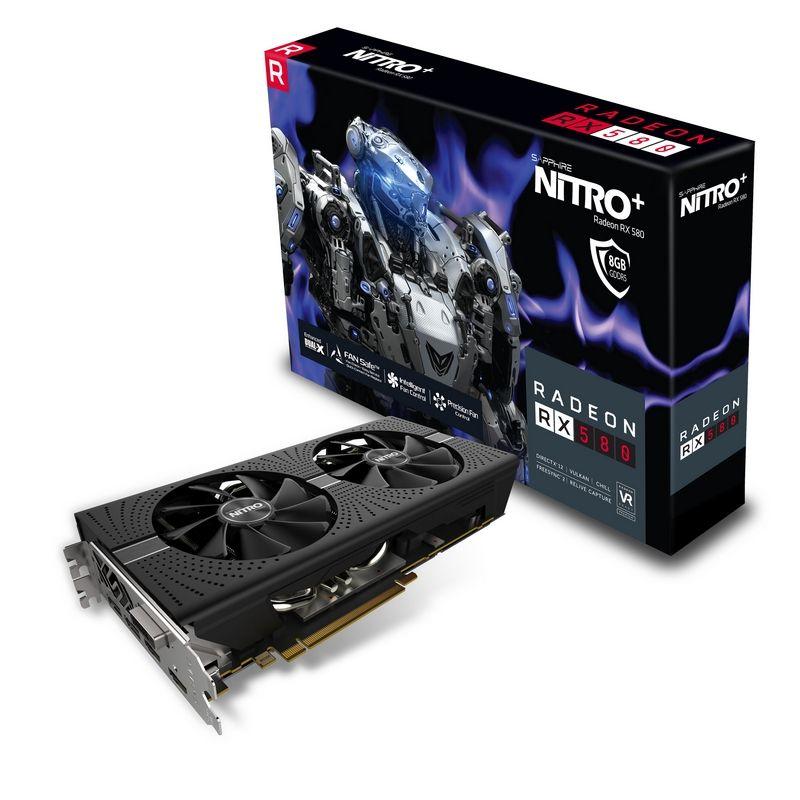 Video Card Radeon Rx 580 8GB Gddr5 Nitro+ Pci-e 2xhdmi DVI-d 2xdp W/bp