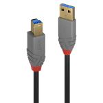 Lindy 36743 USB cable 3 m USB 3.2 Gen 1 (3.1 Gen 1) USB A USB B Black, Grey