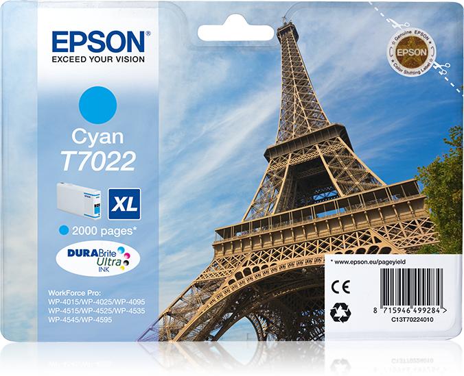 Epson Eiffel Tower Cartucho T70224010 cian XL
