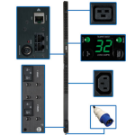 Tripp Lite 7.4kW Single-Phase Monitored PDU, 230V Outlets (36-C13 & 6-C19), IEC-309 32A Blue, 10ft Cord, 0U Vertical