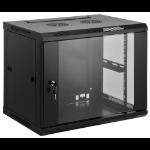 """Intellinet 19"""" Wallmount Cabinet, 6U, 370 (h) x 600 (w) x 450 (d) mm, Max 60kg, Assembled, Black"""