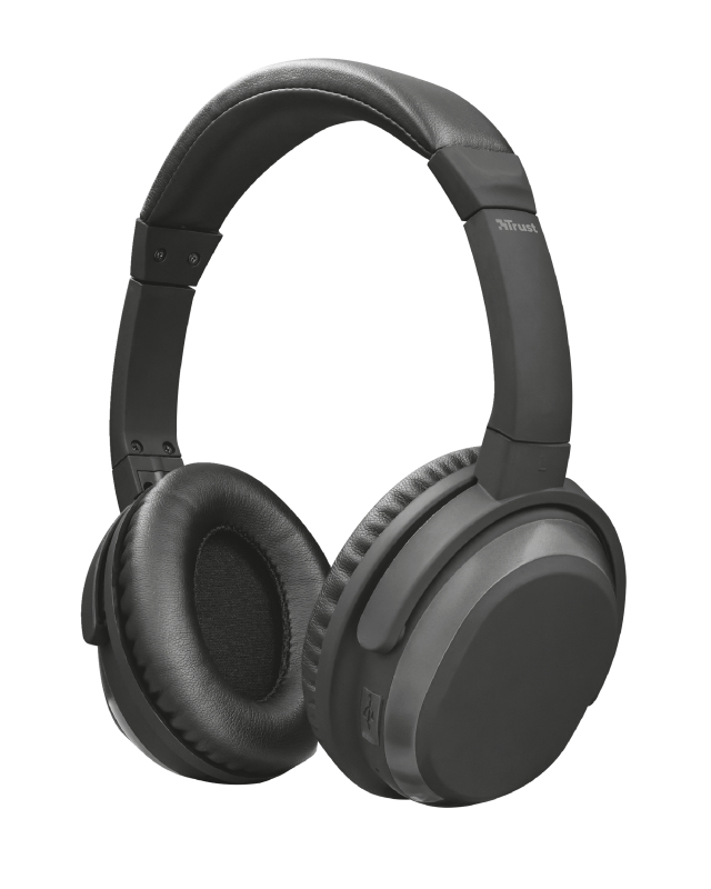 Paxo Bluetooth Headphones Wireless With Active Noise Cancelling  Black