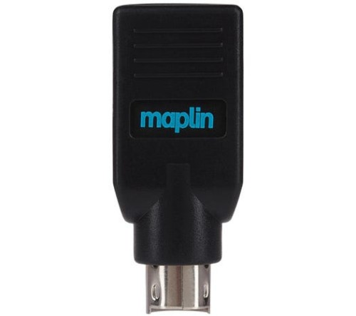 Maplin MAPCUS12 cable gender changer PS/2 USB-A 2.0 Black