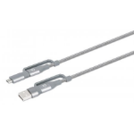 Manhattan USB-C & USB-A 4-in-1 Charge & Sync Cable, 1m, USB-C & USB-A to USB-C, USB-A and Micro-B, 480 Mbps (USB 2.0), 3A / 60W (fast charging), Male to Male, Braided Design, Space Grey, Lifetime Warranty, Boxed