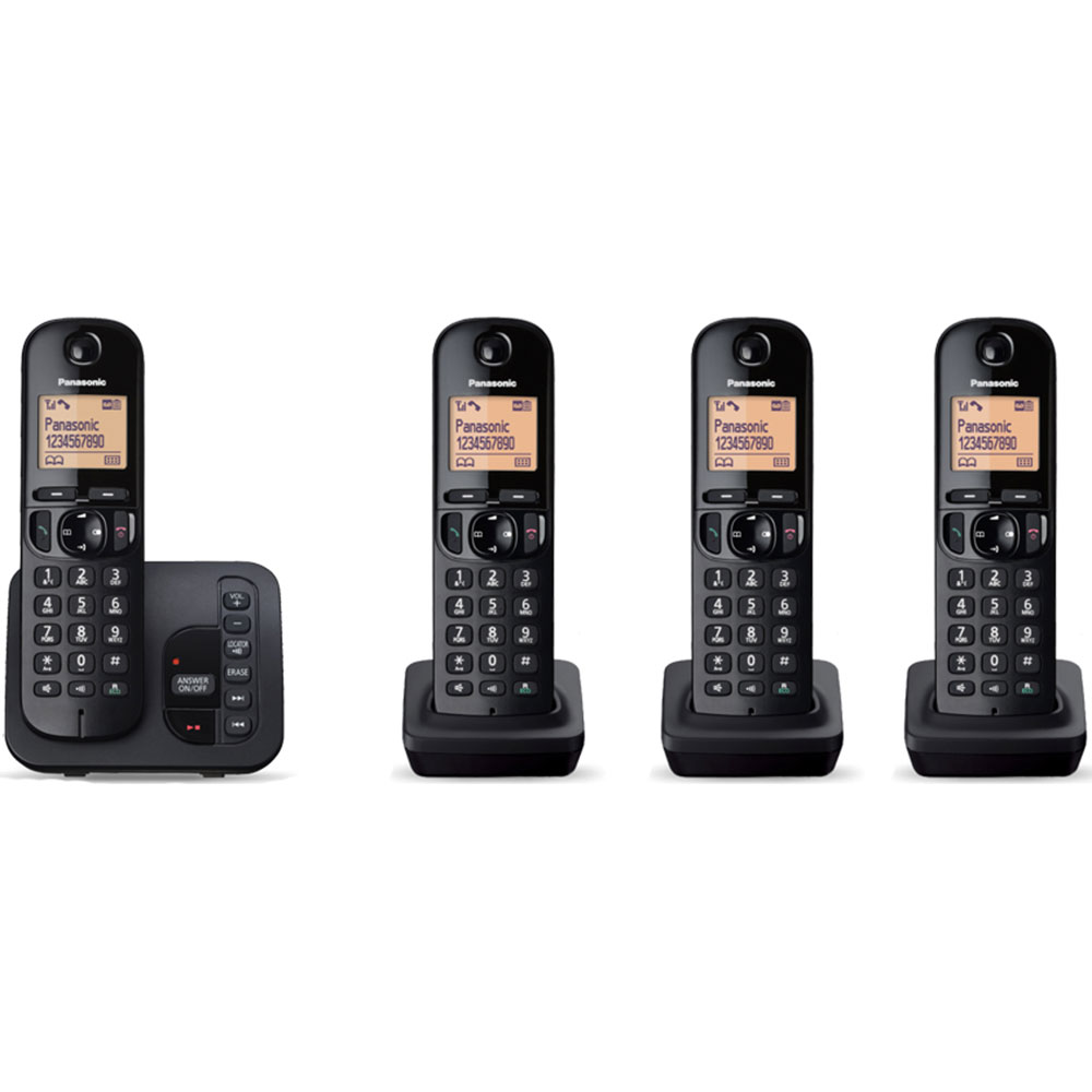 Cordless Dect Phone KX-TGC224EB with TAM and Call Blocking - Quad/ Black