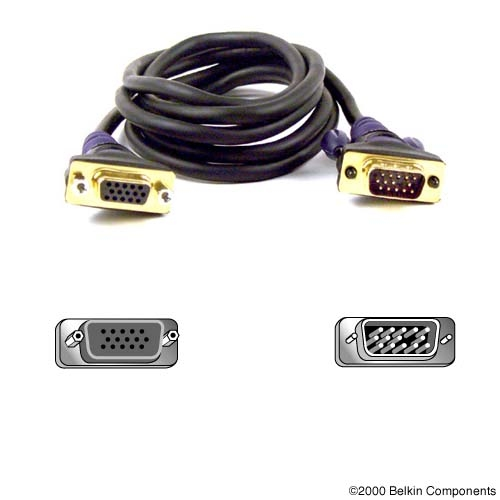 Monitor Signal Extension Cable Vga - Hd Db15 M / F 15m Gold Bulk