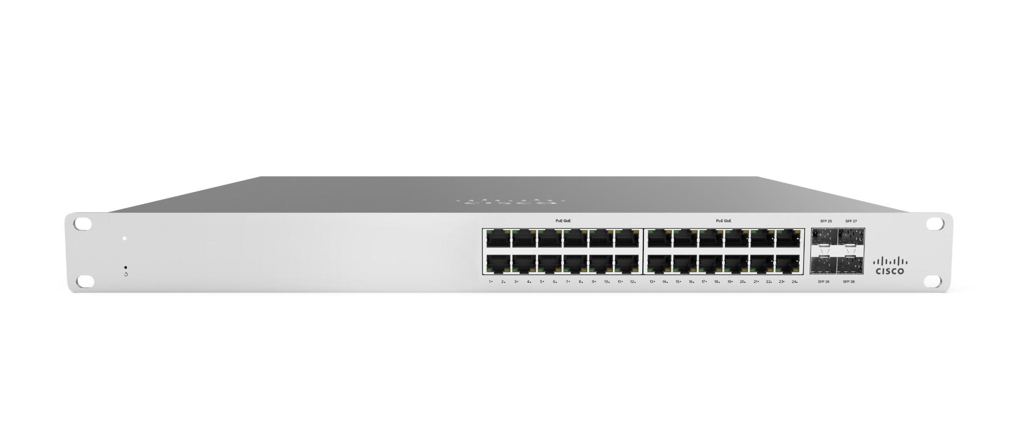 Cisco Meraki MS120-24P Gestionado L2 Gigabit Ethernet (10/100/1000) Gris 1U Energía sobre Ethernet (PoE)