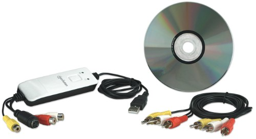 Manhattan Audio/Video Grabber, USB, Single Button Video Capture, Copy and Pause control, Encodes in MPEG 1/2/4 format, Box