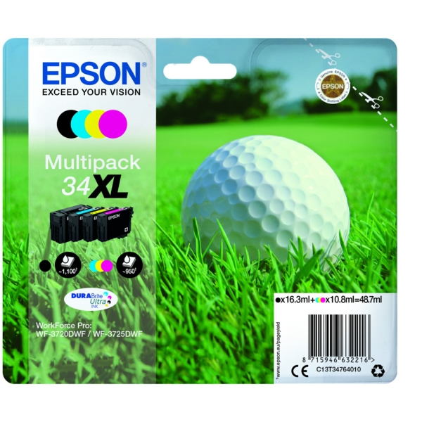 Epson C13T34764020 (34XL) Ink cartridge multi pack, 16,3ml + 3x10,8ml, Pack qty 4