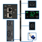 Tripp Lite PDUMNV32HV2LX 7.7kW Single-Phase Monitored PDU, LX Interface, 200-240V Outlets (36 C13/6 C19), IEC 309 32A Blue, 10 ft. (3.05 m) Cord, 0U 1.8m/70 in. Height, TAA