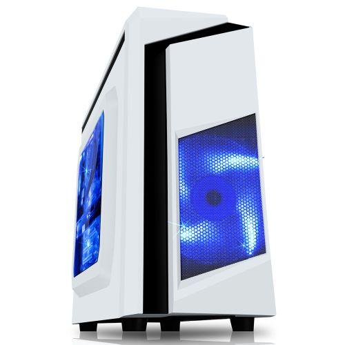 Spire F3 Micro ATX Gaming Case w/ Windows No PSU Blue LED Fan White with Black Stripe Card Reader