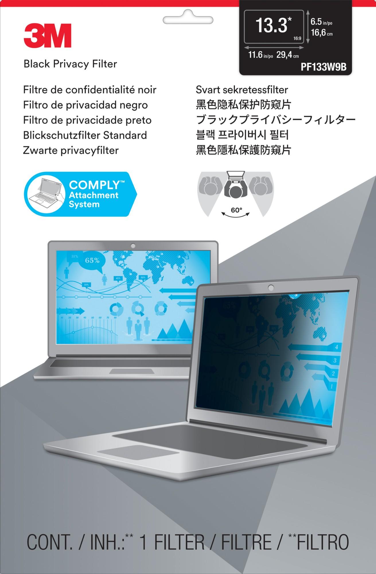 Notebook Privacy Filter Pf13.3w9 13.3in Widescreen Antiglare Frameless 16:9 Black