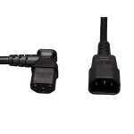 Tripp Lite Standard Computer Power Extension Cord Lead Cable, 10A, 18AWG (IEC-320-C14 to Left Angle IEC-320-C13), 0.61 m