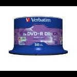Verbatim DVD+R Double Layer 8x Matt Silver 50pk Spindle 43758