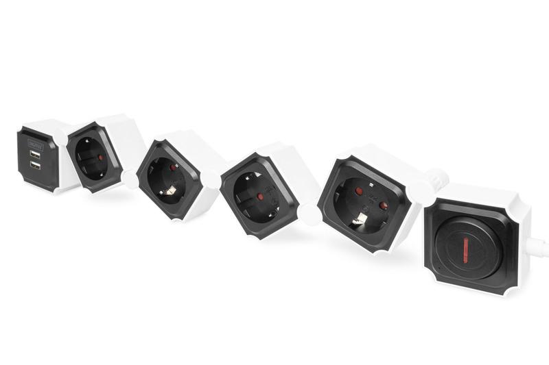 Digitus DA-70620 power extension 1.6 m 4 AC outlet(s) Indoor Black,White